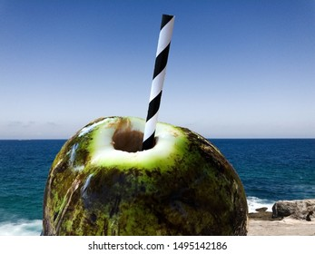 Natural coconut, with water, green bark. Inside straw, black and white. Potassium rich. Blue sea background, Ipanema beach
