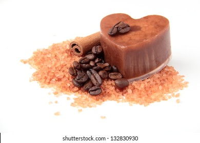 Natural coffee soap with orange sea salt and coffee beans