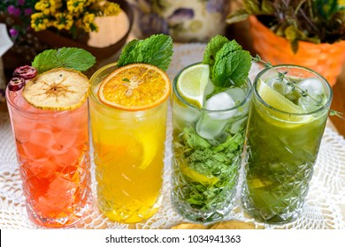 Natural cold drinks decorated on table in cafeteria