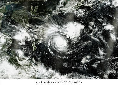 Natural color image of Super Typhoon Mangkhut. Satellite view. Elements of this image furnished by NASA