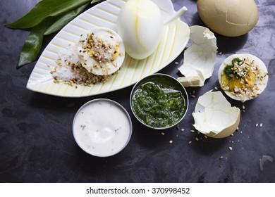 natural colored eggs with sesame seeds wild garlic dip and yogurt dip