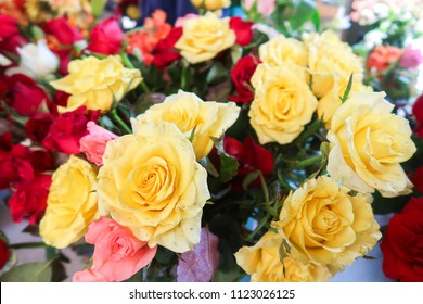 Natural colorful bouquet yellow roses flower
