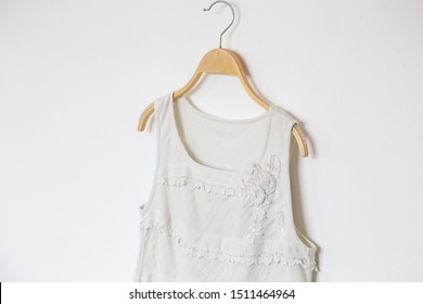 Natural colour blouse on white background.minimal style.