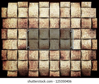 Natural cork  abstract background with glass plate