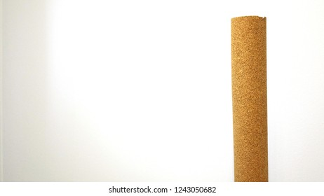 natural cork substrate on the floor with laminate