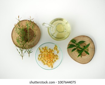natural cosmetic skincare mock up with leaf, home made oil and beauty vitamin ingredient.organic product  ,bio science . alternative medicine. spa.