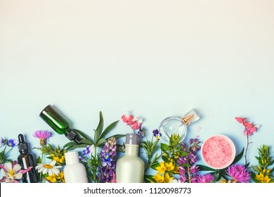 Natural Cosmetics set. Organic products and wild herbs and flowers