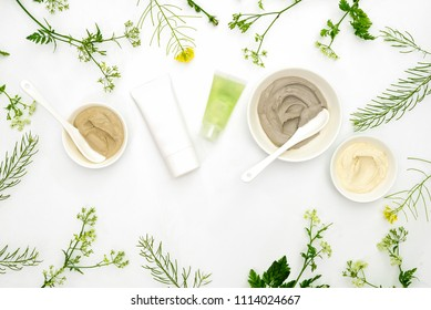 Natural cosmetics set with various kinds of cosmetic clays ready for spa treatment decorated with fresh healing herbs, flat lay composition with blank space for a text