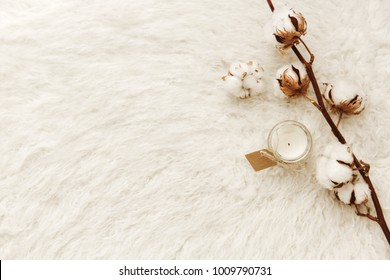 Natural cotton with candle over white cozy background