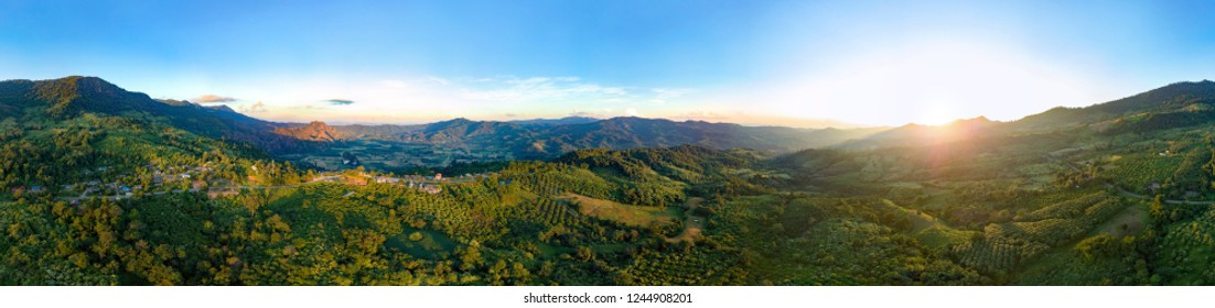 Natural countryside Panorama aerial view of Phu lang ka mountain sunset time at Phayao, Thailand.
