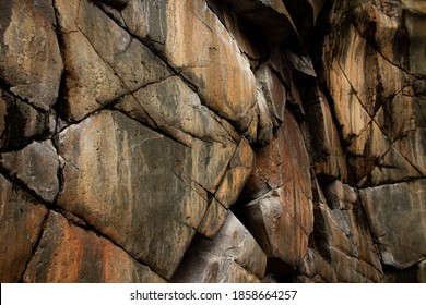 Natural Cracked Rock Background, Old Streaked Cliff Face, Stone Texture Wallpaper
