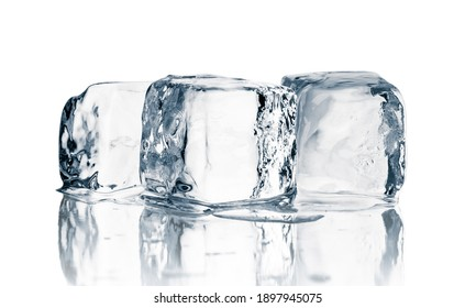 Natural crystal clear melting single ice cubes on white background.