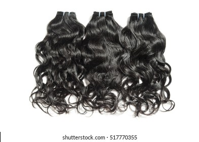 Natural curly wavy black human hair weave extensions