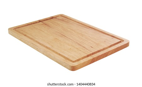 Natural cutting board. Brown chopping board isolated on white