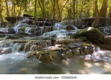 Natural deep forest waterfall in national park of Thailand