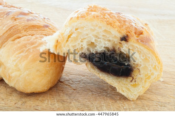 natural details of chocolate croissant