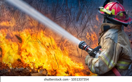 Natural disaster ,firefighters spray water to wildfire.
