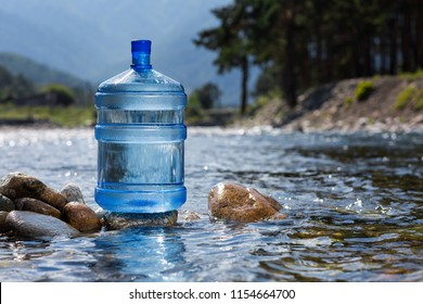 Natural drinking water in a large bottle
