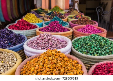 NATURAL DRY CACTUS FLOWERS IN THE SOUK OF MARRAKESH, MOROCCO