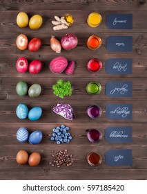 natural easter eggs dyeing with natural dye color
