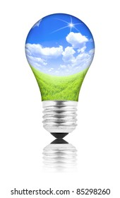 Natural energy concept. Lightbulb with summer meadow