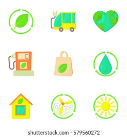 Natural environment icons set. Cartoon illustration of 9 natural environment  icons for web