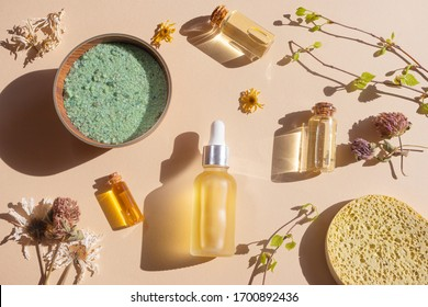 Natural essential oils, dried herbs and flowers and fresh leaves, cosmetic salt in still life compositions. Apothecary concept. Neutral colors. Flat lay, top view.