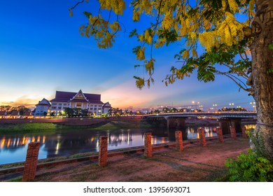 Natural evening at view the Nan River with Phitsanulok Provincial Court and the Naresuan Bridge in the park for relaxing walking jogging at sunset in Phitsanulok City,Thailand.May 2, 2019