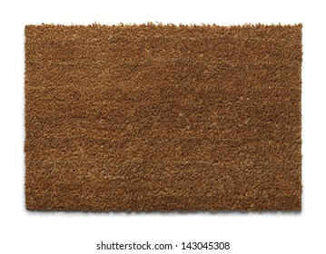 Natural Fiber Welcome Mat with Copy Space Isolated on White Background.