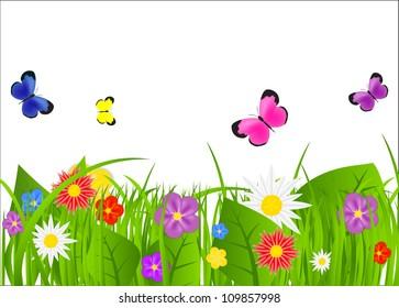 Natural floral background  raster version illustration