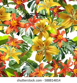 Natural floral patter template flowers and leaves tropical orange yellow colour and tropical leaves banana and monstera. Blossom lilies seamless background. Amazing photo collage for floral design.
