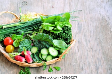 Natural food ingredients on a wooden background