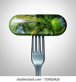 Natural food supplement concept as a pill or medicine capsule with fresh fruit and vegetables inside on a fork as a nutrition and dietary vitamin symbol for good eating health with a 3D render.