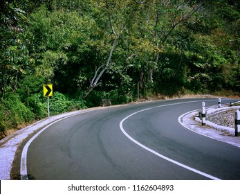 Natural Forest Scenery and Road Bends At Munduk Village, Buleleng, Bali, Indonesia