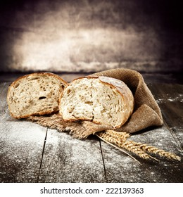 natural fresh bread and flour on desk
