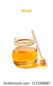 Natural fresh honey and honey spoon on white background.Close up.