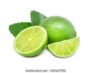 Natural fresh lime sliced, green leaf isolated on white background,Limes with slices and leaves.