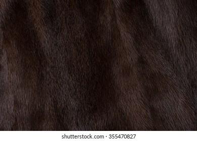 Natural fur mink brown. Close-up, texture