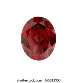 natural  garnet oval facet on a white background isolate