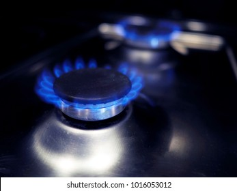 Natural gas burning a blue flames