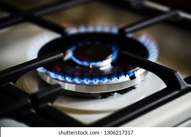 Natural gas burning on kitchen gas stove