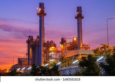 Natural Gas Combined Cycle Power Plant with sunset and light ora