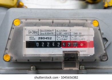 Natural gas consumption meter close up shot on natural light.