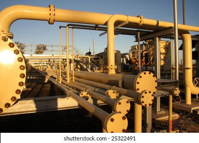Natural gas plant in the morning sunlight