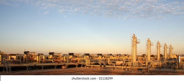Natural gas plant in sunrise