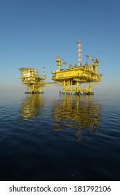Natural gas platform on calm blue sea