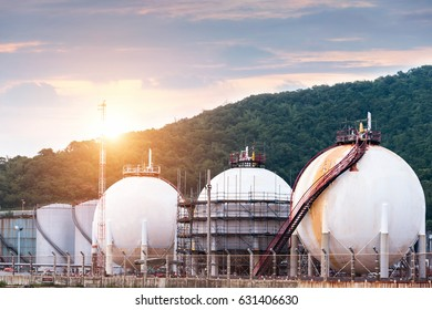 Natural gas tank, Petrochemical Plant, Petroleum, Chemical Industry, Oil Tanks At Twilight Sky Background
