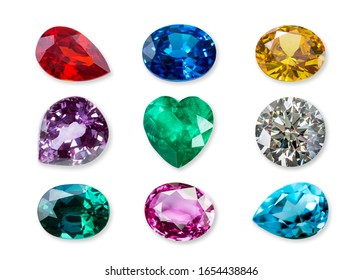 Natural gemstone and diamond isolated on a white background