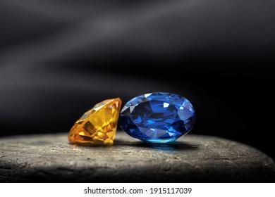 Natural gemstone, Jewel or gems on black stone background
