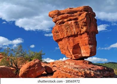 "A natural geological phenomenon found at the Garden of the Gods, Colorado Springs, Colorado entitled ""Balanced Rock"""